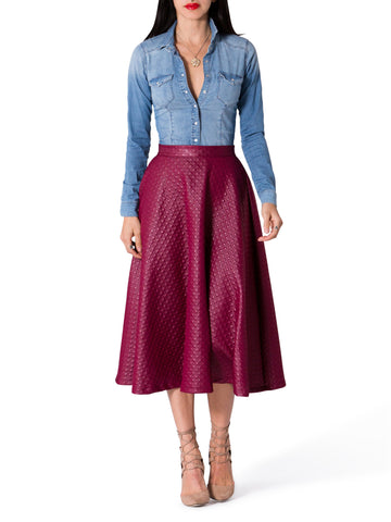 """Kara"" Textured Swing Midi Skirt"