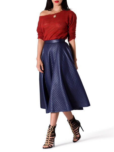 """Mila"" Textured Navy Swing Midi Skirt"
