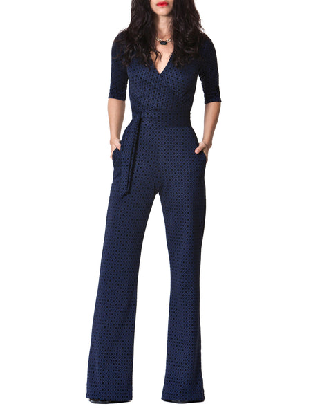 """Tolani"" Navy Diamond Print Jumpsuit"