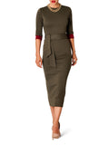"""Dakota"" Contrast Sleeve Olive Midi Dress"