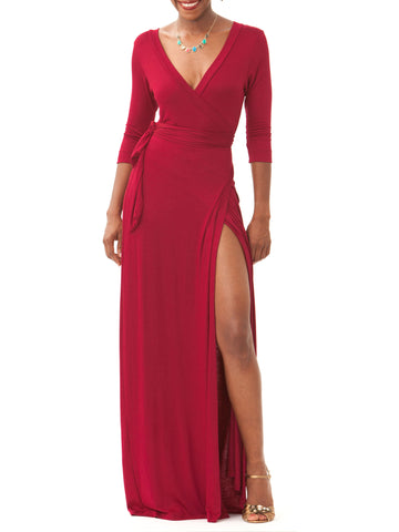 """Gabby"" Oxblood Wrap Maxi Dress"