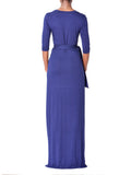 """Laila"" Navy Wrap Maxi Dress"