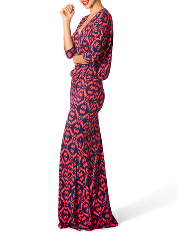 """Giselle"" Printed V-Neck Maxi Dress"