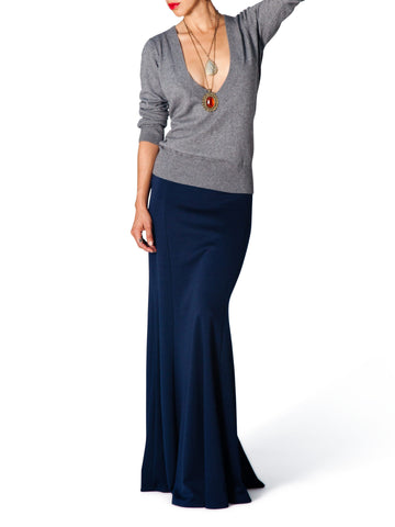 """Frida"" Navy Maxi Skirt"