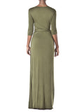 """Imani"" Olive Wrap Maxi Dress"