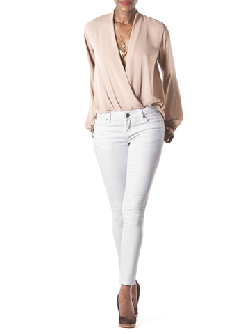 """Mia"" Long Sleeve Faux Wrap Blouse"