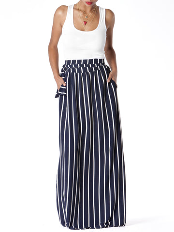 """Jane"" Stripe Maxi Skirt"
