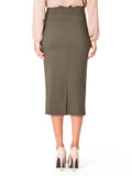 """Olivia"" Olive Stretch Pencil Skirt"