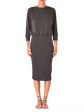 """Kennedy"" 3/4 Sleeve Crew Neck Midi Dress"