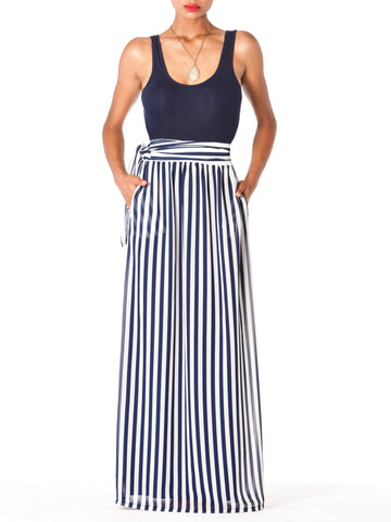 """Bella"" Stripe Maxi Skirt"