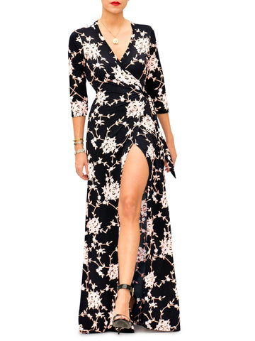 """Brooke"" Floral Wrap Maxi Dress"