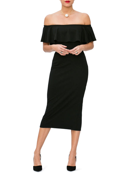 """Peyton"" Frill Off Shoulder Midi Dress"