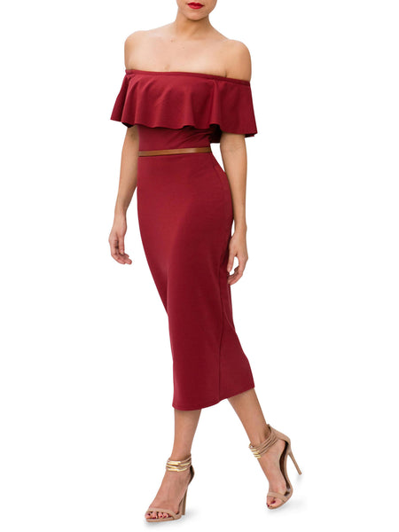 """Savannah"" Frill Off Shoulder Midi Dress"