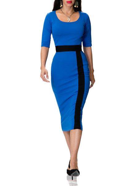 """Isidora"" Blue Dress with Black Contrast"