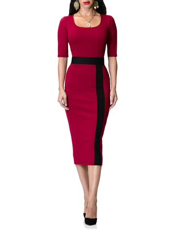 """Gabriela"" Burgundy Dress with Black Contrast"