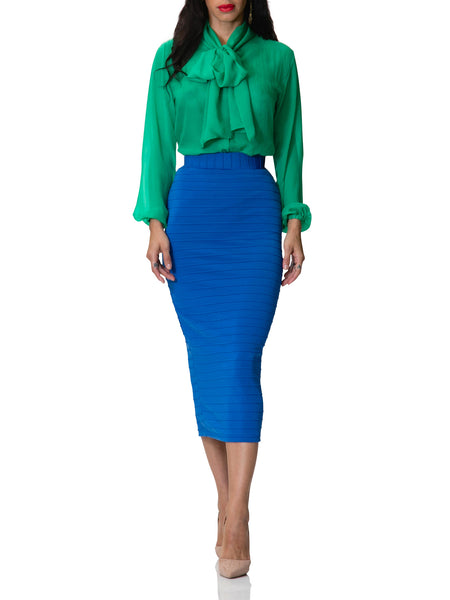 """Sofia"" Ribbed Stretch Pencil Skirt"