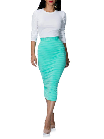 """Juliana"" Ribbed Stretch Pencil Skirt"
