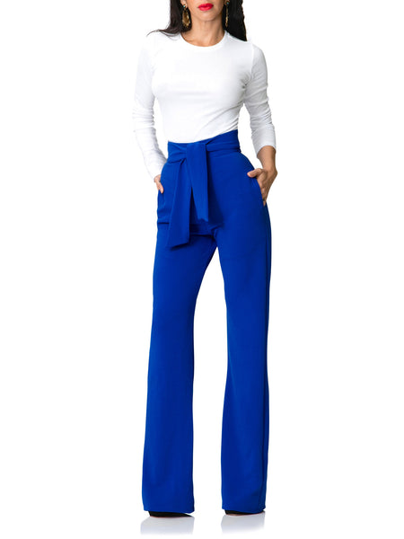 """Luciana"" Belted High Waist/Wide Leg Pants"