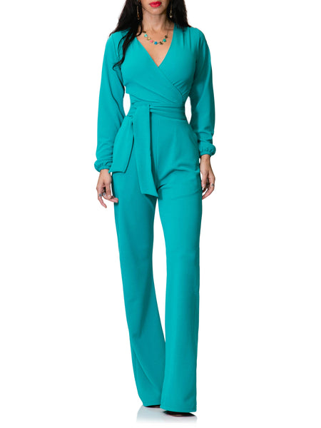 """Salma"" Wrap Long Sleeve Belted Jumpsuit"