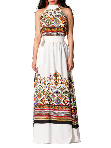 """Kenya"" Halter Printed Maxi Dress"