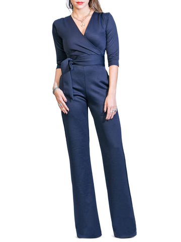 """Tolani 2.0"" Textured Navy Jumpsuit"