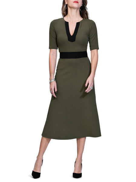 """Kate"" Olive and Black Contrast Midi Dress"