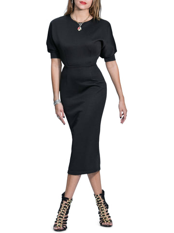 """Lala"" Dolman Sleeve Textured Midi Dress"