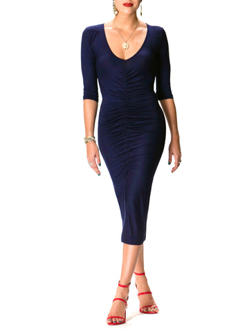 """Dana"" Navy Blue Ruched Midi Dress"