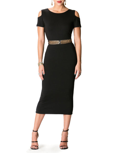 """Aubrey"" Cold Shoulder Midi Dress"