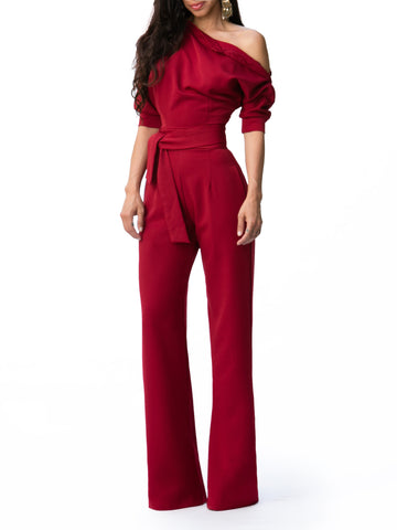 """Tracy"" Buttoned Dolman Sleeve Jumpsuit"