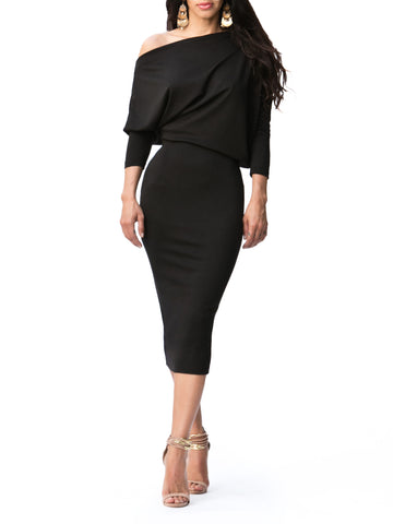 """Ebony"" Slouchy Off Shoulder Midi Dress"