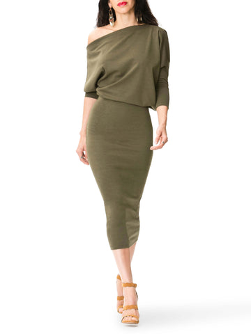 """Annette"" Slouchy Off Shoulder Midi Dress"