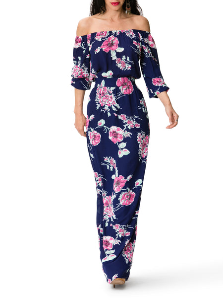 """Carmen"" Floral Off Shoulder Maxi Dress"