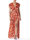 """Lola"" Printed Faux Wrap Maxi Dress"