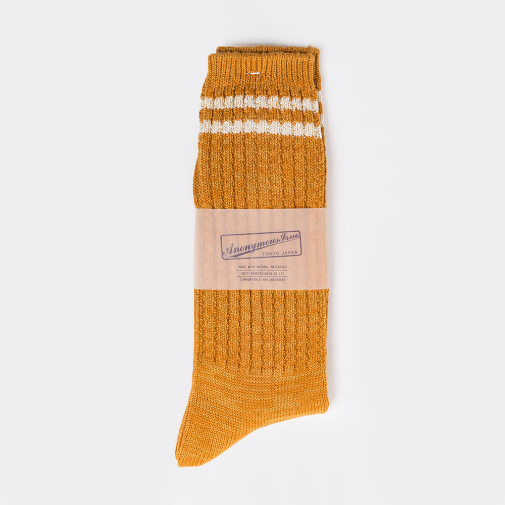Anonymous Ism 2 Line Pique Ribbed Sock - Mustard - 2