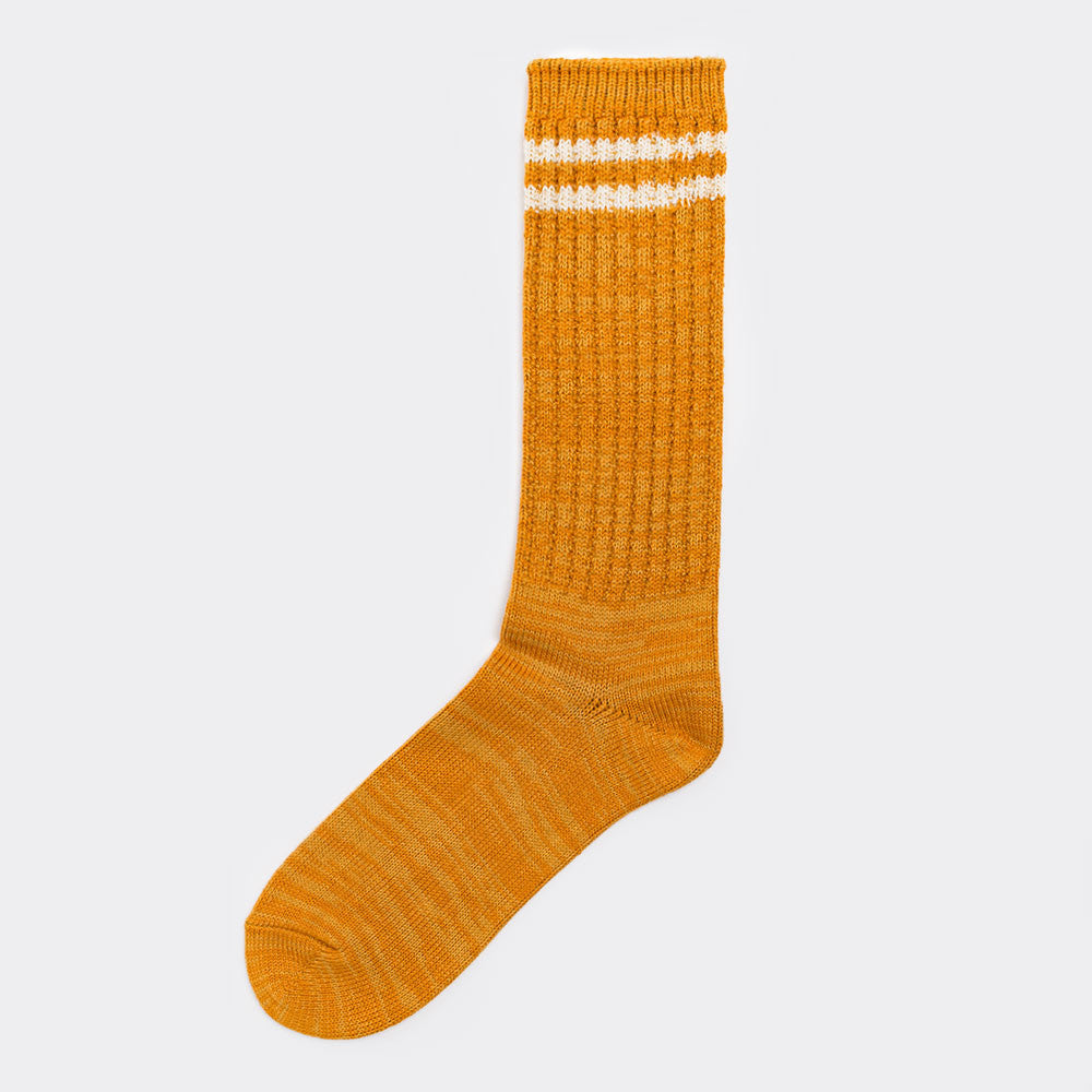 Anonymous Ism 2 Line Pique Ribbed Sock - Mustard  - CARTOCON