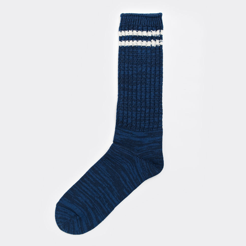 Anonymous Ism 2 Line Pique Ribbed Sock - Navy - 1