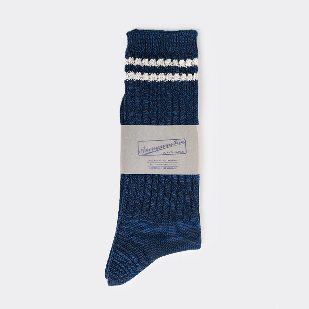 Anonymous Ism 2 Line Pique Ribbed Sock - Navy - 2