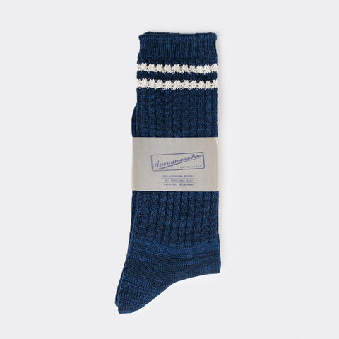 Anonymous Ism 2 Line Pique Ribbed Sock - Navy  - CARTOCON