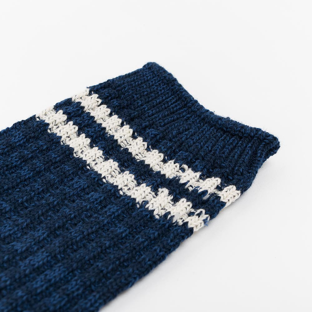 Anonymous Ism 2 Line Pique Ribbed Sock - Navy - 3