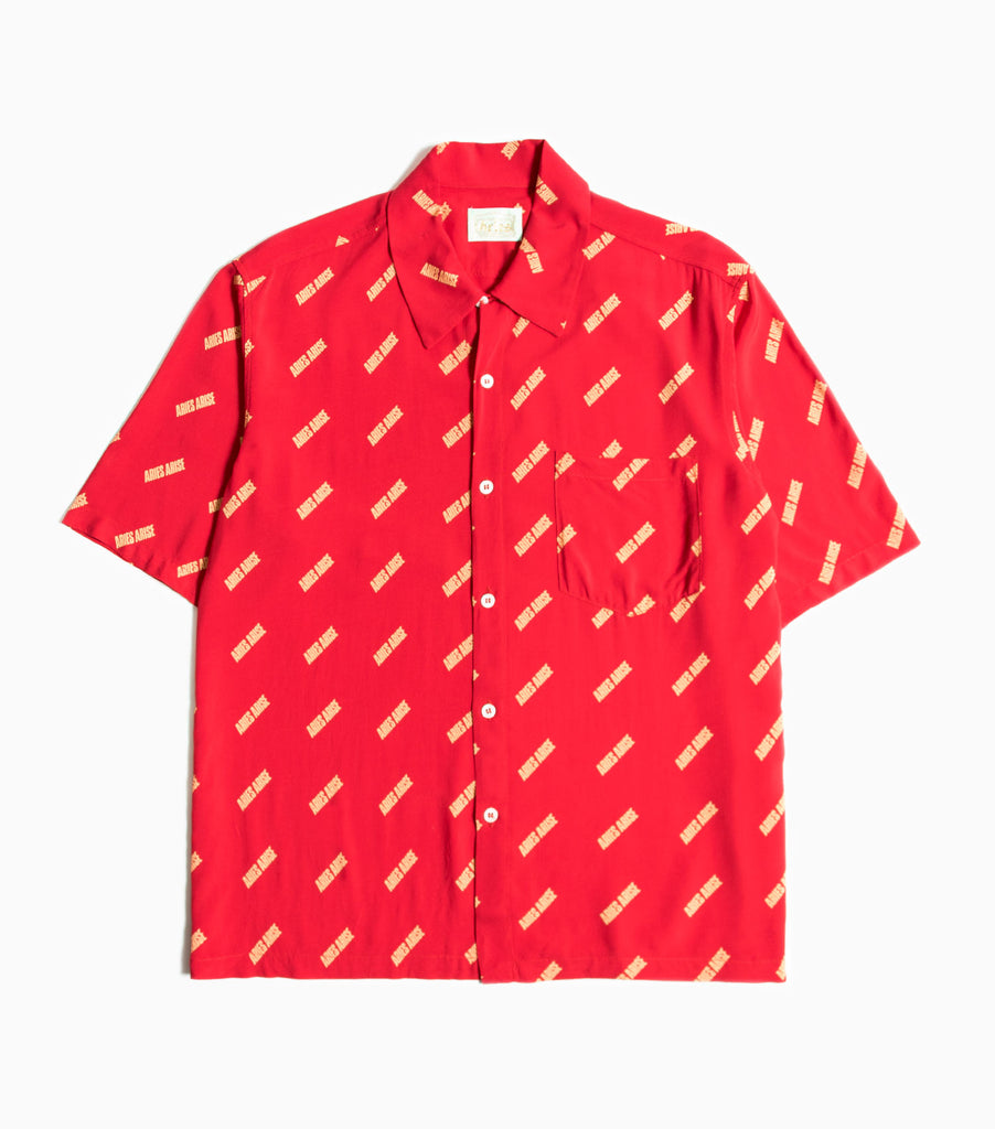 Aries All Over Logo Print Bowling Shirt - Red Shirt - CARTOCON