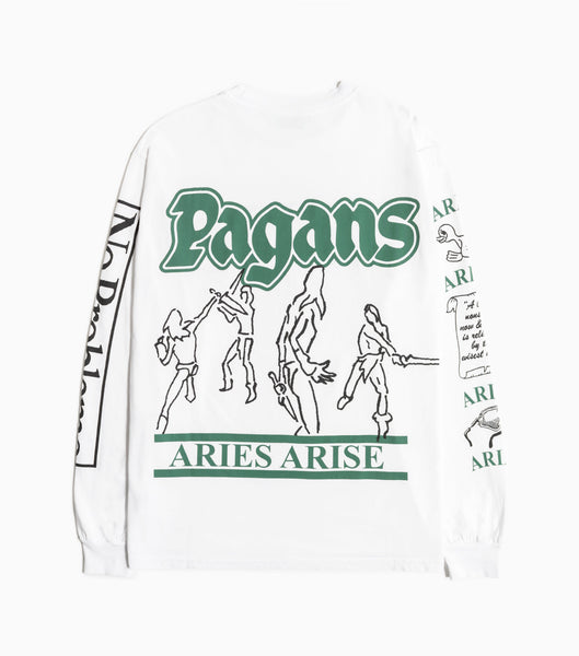 Aries Warriors Pagans Long Sleeve T-Shirt - White Long Sleeve T-Shirt - CARTOCON