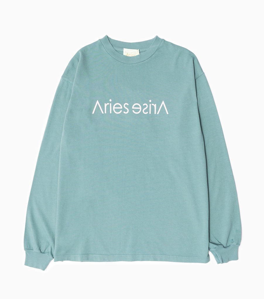 Aries Sans Print Long Sleeve T-Shirt - Green Long Sleeve T-Shirt - CARTOCON