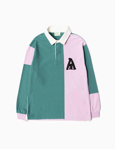 Aries Heavyweight Rugby Shirt - Pink/Hydro Sweatshirt - CARTOCON