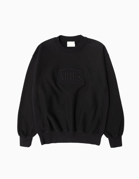 Aries Embroidered Temple Sweatshirt - Black Sweatshirt - CARTOCON
