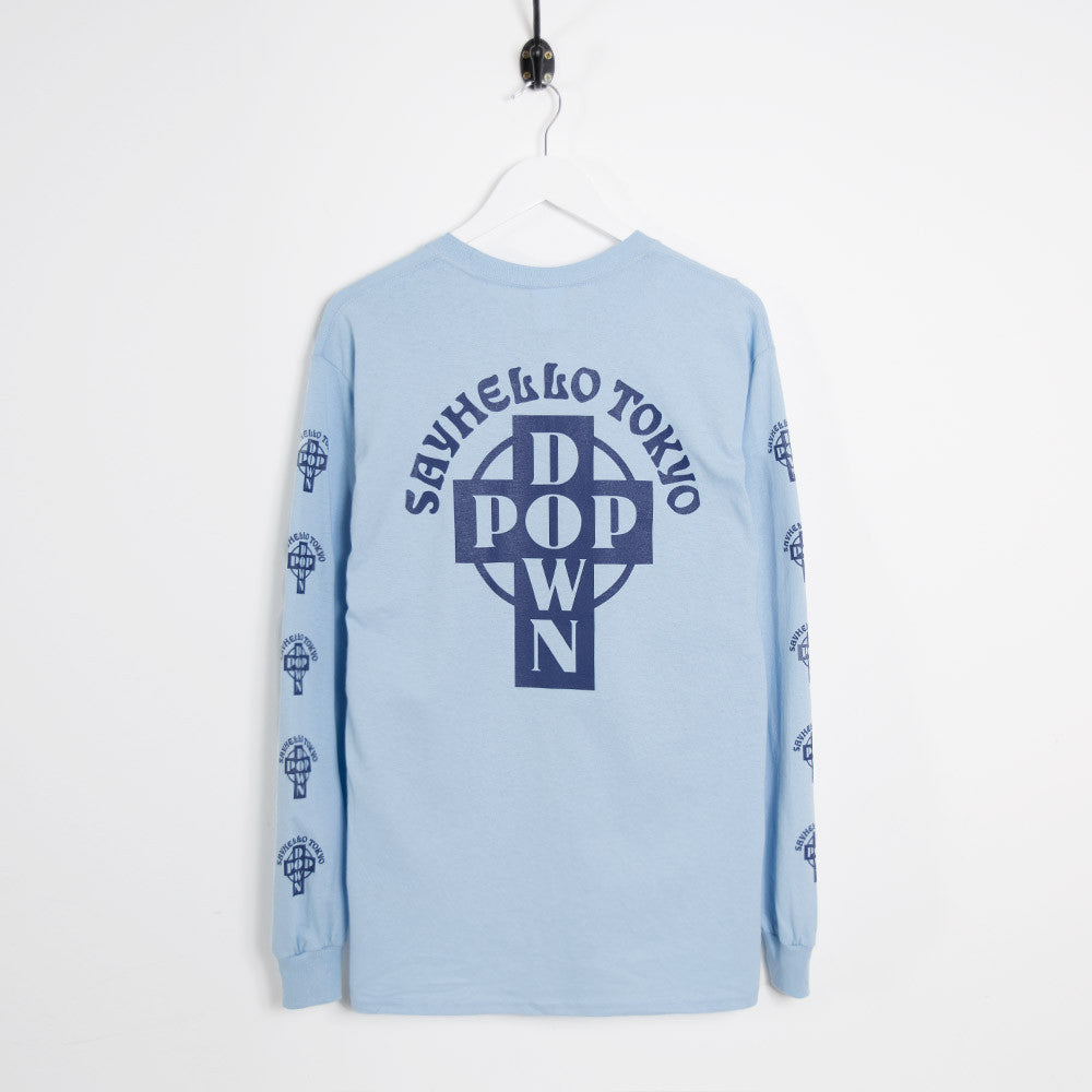 Say Hello Pop Down Long Sleeve T-Shirt - Light Blue - 2