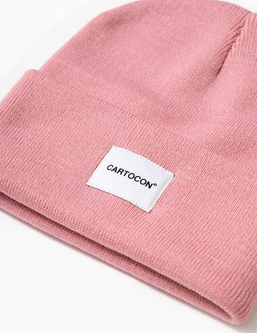 Cartocon Rib Patch Beanie – Light Pink