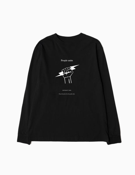 CARTOCON Peace & Justice BLM Charity Long Sleeve T-Shirt - Black