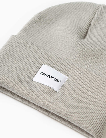 Cartocon Rib Patch Beanie - Light Grey