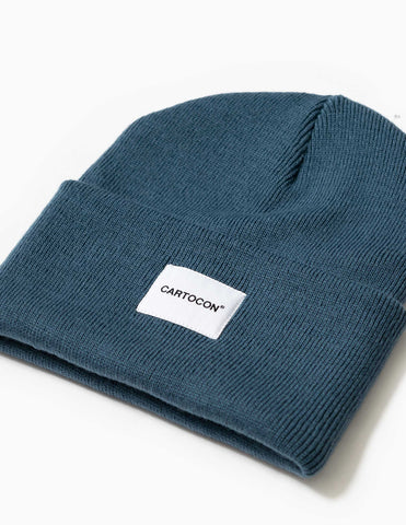 Cartocon Rib Patch Beanie - Dusty Blue